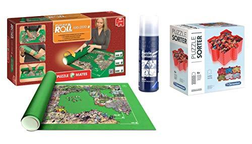 Pack Puzzle Roll 2000. Tapete universal para transportar/guardar puzzles + Pegamento/conserver+ Bandejas portapiezas