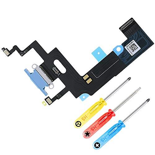 MMOBIEL Conector Dock de Carga de Reemplazo Compatible con iPhone XR 6.1 pulg. (Azul), Incl. Destornilladores