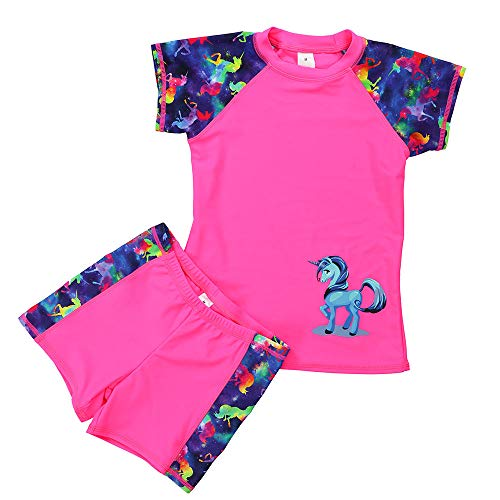 DUSISHIDAN Jungen Mädchen Schwimmbekleidung UV Schutz badeshirt Kinder Bademode Bade-Set, Rosa-einhorn, 134-146 M(8-10)