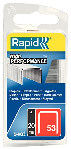 Rapid Tackerklammern Typ 53, 20mm Klammern, 540 Stk., Feindrahtklammern für Holz und Stoffe