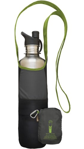 ChicoBag Bottle Sling rePETe with Pouch, Limestone, 4.5 x 10-Inch Bag/4.5 x 6-Inch Pouch