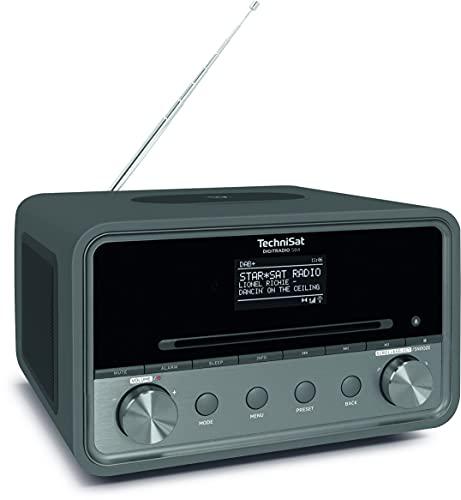 TechniSat DIGITRADIO 584 – Radio stereo DAB+ e via Internet (CD, ricarica wireless, comando vocale Alexa, WLAN, Bluetooth, USB, sveglia, equalizzatore, 2 x10 watt) antracite