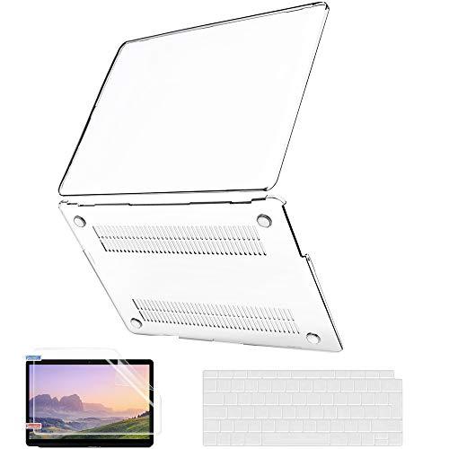 Coque MacBook Air M1 13 Pouces 2020 2019 2018 Version A2337 A2179 A1932, JGOO Coque Slim Crystal Clear avec Coque de Clavier et Protecteur d'écran Compatible avec Mac Air 13.3 avec Retina et Touch ID