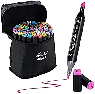 48 Alcohol Art Markers Set Dual Tips Coloring Brush Pen & Fineliner Color Pens,Permanent Marker Highlighter Pens for Calli...
