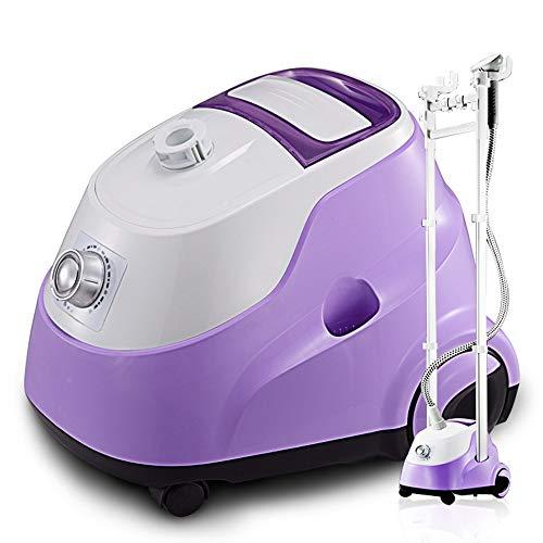 Plancha de vapor púrpura for ropa, termostato de seis velocidades 40S de vapor de hierro de calentamiento rápido con tanque de agua visible de 2L y rueda universal móvil for hoteles y particulares