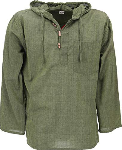 GURU SHOP Nepal Hemd, Goa Hippie Sweatshirt, Yogashirt, Schlupfhemd mit Kapuze, Olive, Baumwolle, Size:M, Hemden Alternative Bekleidung