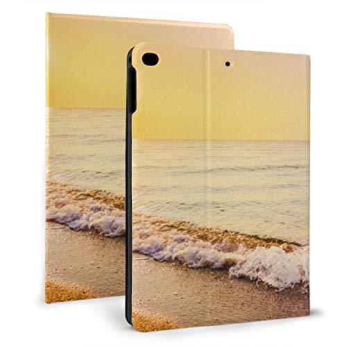 JIUCHUAN Girl Ipad Case Summer Beach Bird's-eye View Paper Style Ipad Cover Bag For Ipad Mini 4/mini 5/2018 6th/2017 5th/air/air 2 With Auto Wake/sleep Magnetic Ipad Carrying Case