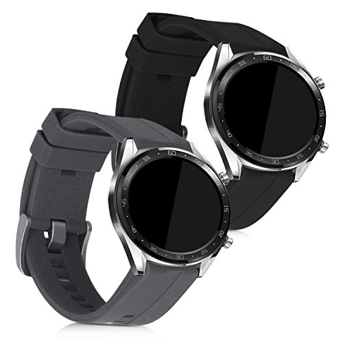 kwmobile 2X Pulsera Compatible con Huawei Watch GT (46mm) - Brazalete de Silicona Gris/Negro sin Fitness Tracker