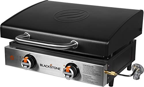 Blackstone 1813 Tabletop Griddle with Stainless Steel Front Plate and Hood - 22', Black