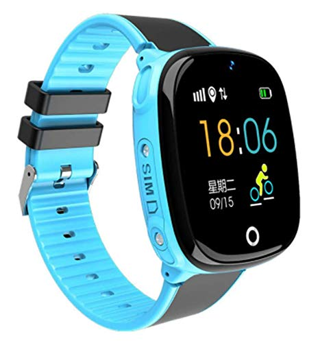 Kids Waterproof Smartwatches Phone, Children Tracker Phone with WiFi GPS LBS Positioning Locator Anti-lost SOS Call Wristwatch with Call Voice Chat Pedometer Alarm Clock for Boys Grils (Blue)