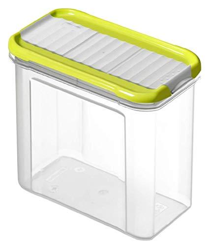 Rotho Domino Vorratsdose 1l mit Deckel und Schüttvorrichtung, Kunststoff (PP) BPA-frei, transparent/grün, 1l (16,5 x 9,0 x 13,0 cm)