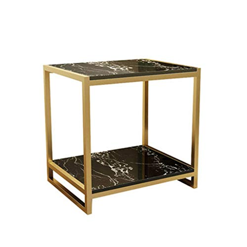 A-Yan-Q-Home Office Furniture Bedroom Bedside Table, Artificial Marble Finish Sofa Table Double Layer Large Storage Table Hotels Reception Room Reception Room Pedestal Tables