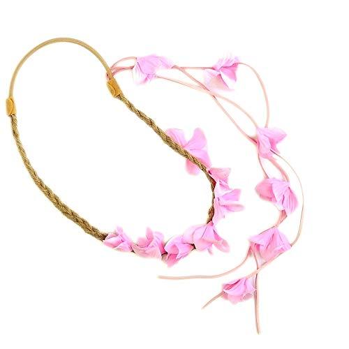 Cheveux naturels Cordon Fleur Guirlande/serre tête fleur avec pompon en daim – rose