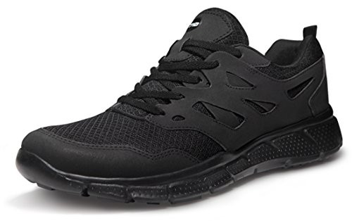 TSLA Men's Sports Running Shoes, Lightweight Breathable Walking Casual Sneakers, Performance Gym Training Athletic Shoes, Groove Mesh(x710) - Blackout, 10.5