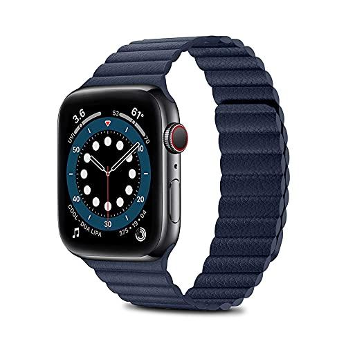 TANAKEY Pulsera de Cuero Compatible con Apple Watch 44/42mm 40/38mm, Pulseras de Repuesto con Cierre magnético Compatible con iWatch Series 6/5/4/3/2/1/SE (44/42mm, Azul Marino)