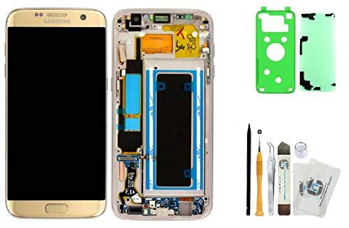 """iTG Originale Display Kit di Sostituzione per Samsung Galaxy S7 EDGE SM-G935F Oro (Gold Platinum) – Samsung LCD Touch Screen Originale GH97-18533C + Coperchio batteria """"3M"""" Adesivo + Set di Strumenti"""