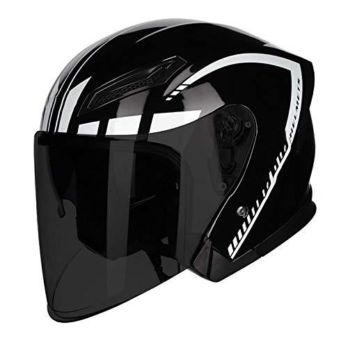 Casco para vehículo todoterreno motocicleta eléctrica locomotora batería casco para automóvil casco ligero ventilación casco-L_White Flower + Black Tea Mirror