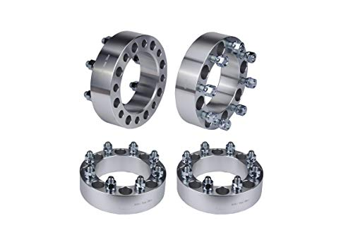 Wheel Spacer Set of 4-8x6.5 Bolt Pattern - 8x165.1mm Lug Centric 130mm Bore - 9/16-18 Studs 2 Inches Thick - Compatible with Dodge and Ford Trucks - 1994-2011 Ram 2500, Ram 3500, 88-98 F-250, F-350