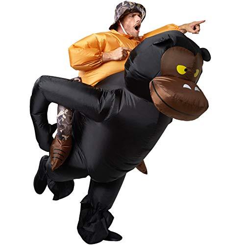 dressforfun 302352 - Aufblasbares Unisex Kostüm Großwildjäger auf dem Rücken eines Gorillas