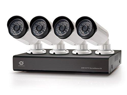 Conceptronic Kit de vigilancia AHD CCTV de cuatro canales - Kit de videovigilancia (Alámbrico, Bala, BNC, Interior / exterior, 25 m, CMOS)