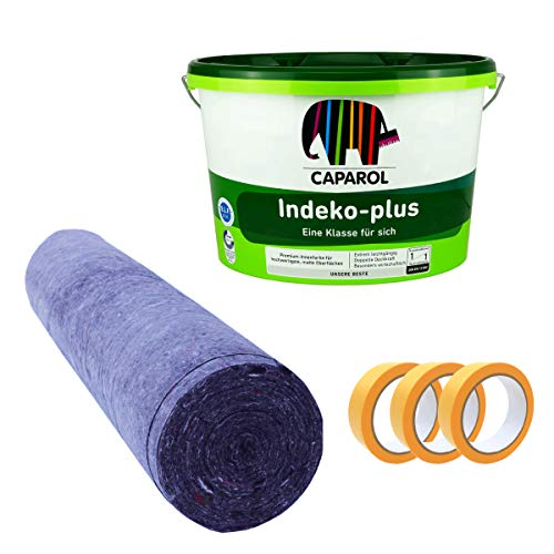 Caparol Indeko plus 12,5 Liter Wandfarbe + 3x Pictolor Goldband 30mm 33m + Pictolor Abdeckvlies 25m
