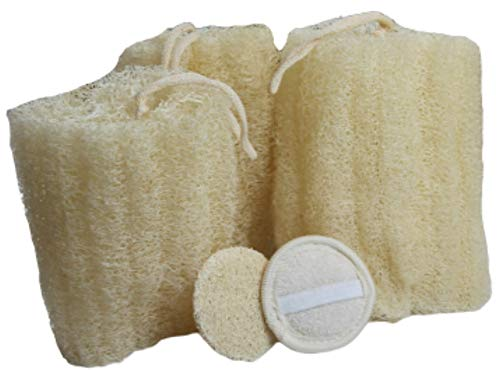 All Natural Loofah Sponge, Set of 3 Real Egyptian Bath & Shower Exfoliating Loufa Scrubber Sponges, 2 Facial cleansing pads Eco Friendly, No Toxic Chemicals, by Serrento