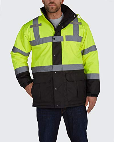 Utility Pro UHV1004 High-Vis Contractor Safety Jacket with Waterproof Dupont Teflon Protection, Lime/Black, 3X-Large