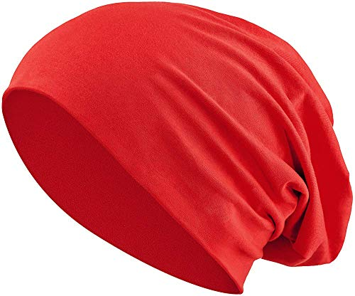 Jersey Baumwolle elastisches Long Slouch Beanie Unisex Mütze Heather in 35 (3) (Red)