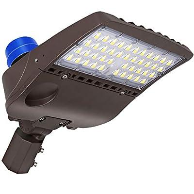 Hykolity LED Parking Lot Lighting with Photocell 150W 19,500Lm 5000K Waterproof Dusk to Dawn Led Shoebox Light Easy Installation Commercial LED Area Light Slip Fitter Mount
