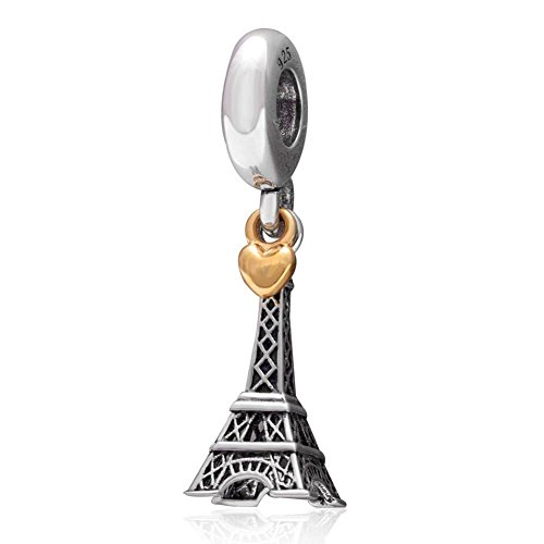 Colgante colgante de la torre Eiffel de París con corazón dorado de plata de ley 925 para pulsera europea San Valentín regalos