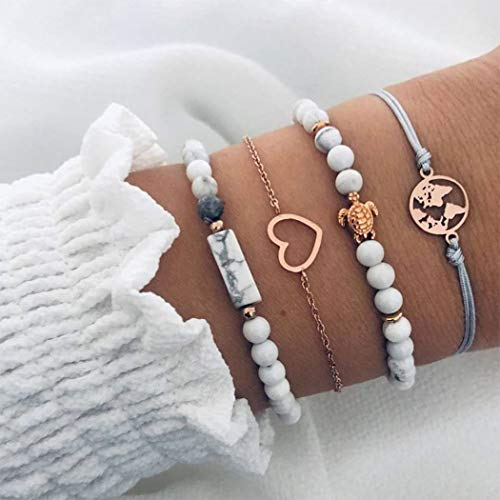 Arimy Boho Layered Turquoise Bracelet Gold Map Heart Bracelets Beaded Fashion Delicate Hand Chain Jewelry Adjustable for Women and Girls(4pcs)
