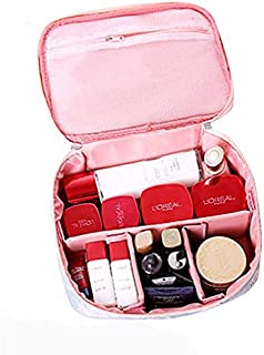 SKYFUN (LABEL) Travelling Makeup Cosmetic Toiletry Organizer Brush Storage Kit Wash Bag with Handle for Men and Women (with Partitions)