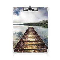 クリップボード 風景 プレゼントA4 バインダー 湖ライジングミストヒルズに架かる突堤霧の神秘的な風景 用箋挟 クロス貼 A4 短辺とじブラウンブルーグリーン