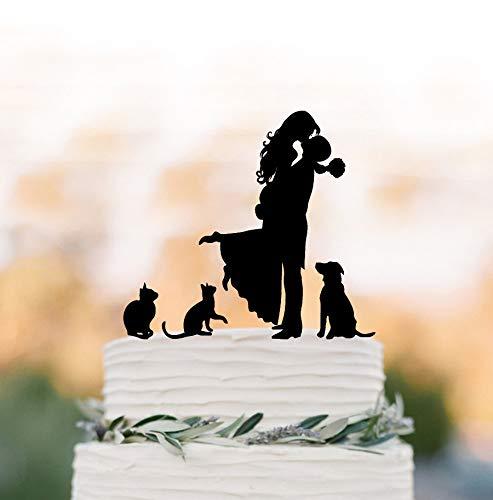 Decoración para tarta de boda familiar con 2 gatos y perros con silueta de dos gatos y silueta de pareja para tartas de novia y novio, silueta de beso