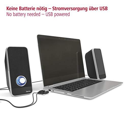 Hama PC Lautsprecher Sonic (USB 3.0, 3,5 mm Klinke, 3 W, Lautstärkeregler, aktive Boxen für Computer, PC, Laptop, Notebook, Smartphone und Tablet) schwarz