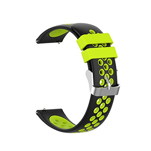 Gizmo Watch Band Replacement for Kids, 20mm Quick Release Watch Band for Men and Women, Soft Silicone Watch Band with Air Holes (20mm, Black-Green)