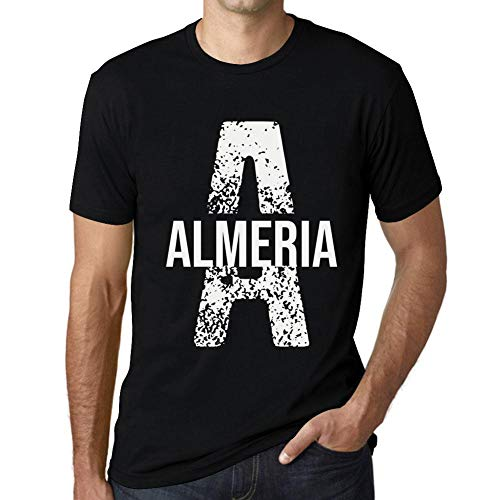 One in the City Hombre Camiseta Vintage T-Shirt Letter A Countries and Cities Almeria Negro Profundo Texto Blanco