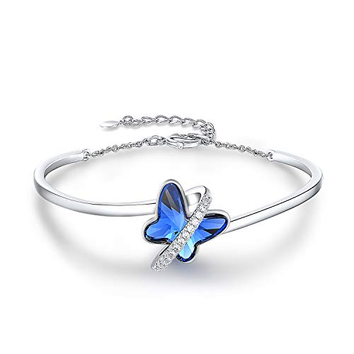 GEORGE · SMITH Silver Bangle Bracelet for Women Elegant Butterfly Bracelets with Crystals from Austria, Christmas Gifts for Mum/Wife/Daughter- Gift Box Include