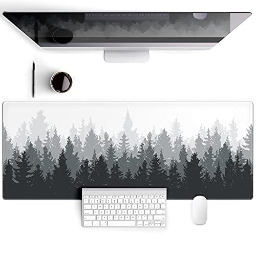 Galdas Gaming Mouse Pad Forest Background Pattern XXL XL Large Mouse Pad Mat Long Extended Mousepad Desk Pad Non-Slip Rubber Mice Pads Stitched Edges Thin Pad (31.5x11.8x0.08 Inch)-Tree