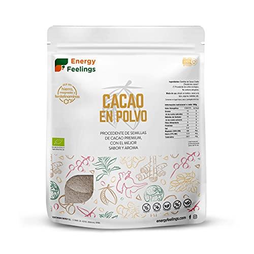 Energy Feelings Cacao Puro En Polvo Ecológico | Cacao Sin Azúcar | Cacao Orgánico Natural | Vegano | Sin Gluten | Sin Lactosa, 1000 Gramo