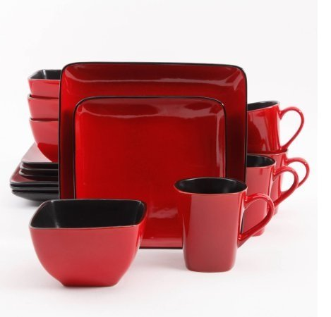 Better Homes and Gardens Rave 16-Piece Square Dinnerware Set with Dinner Plates, Dessert Plates, Bowls and Mugs, Red