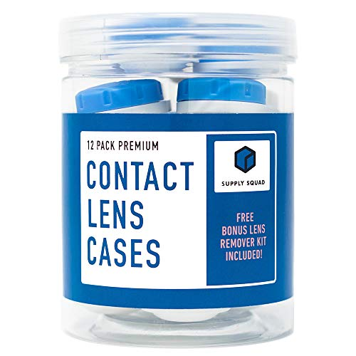 Contact Lens Cases 12 Pack | Free Remover Kit | Free Storage Jar. FDA Approved. Best Value Bundle - 1 Year Supply of Safe Eco-Friendly Plastic Cases.
