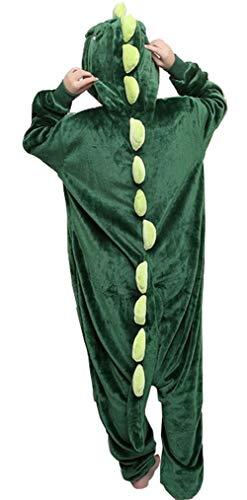 Disfraz de pijama unisex para adultos, de peluche, de una pieza, cosplay de dinosaurio verde L