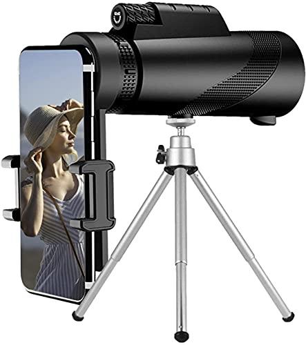 Telescopio monocular de 10 x 50, visión nocturna baja e impermeable, monocular de alta potencia con soporte para smartphone y trípode, BAK4 prisma doble enfoque para observación de aves