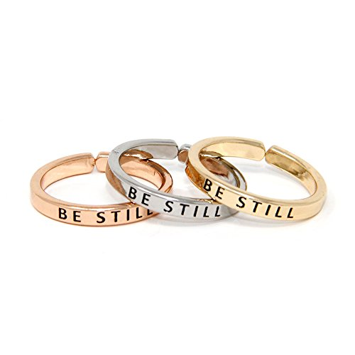 Me Plus Inspirational Positive Message Engraved Thin Finger Opening Rings 3 in 1 Set - 28 Different Phrases (BE Still)