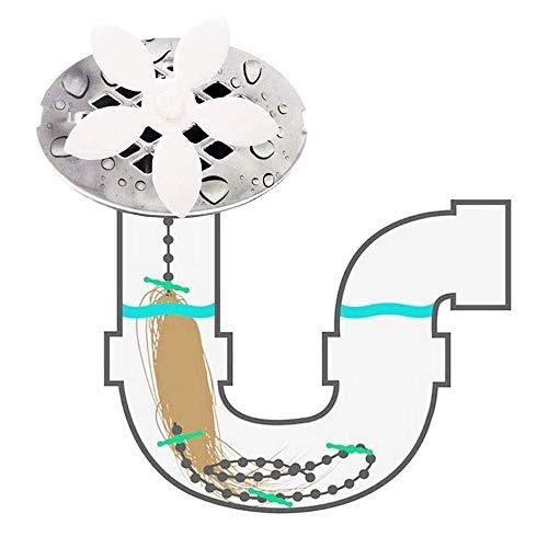 Abfluss-Haarfänger, 10er-Pack, Blumen-Dusch-Haarreinigungskette, Abfluss-Entferner, Werkzeug für Abflussreinigung, Badezimmerkette Haken, Haarfalle für Badewanne und Küche White-10