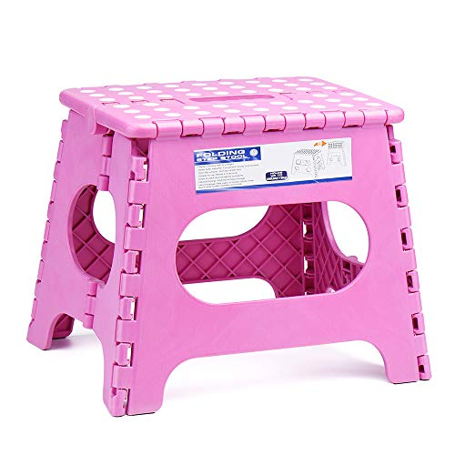 ACSTEP Acko Folding Step Stool for Adults-11 Height Lightweight Plastic Stepping Stool. Foldable Step Stool Hold up to 300lbs Non Slip Collapsible Stool Pink