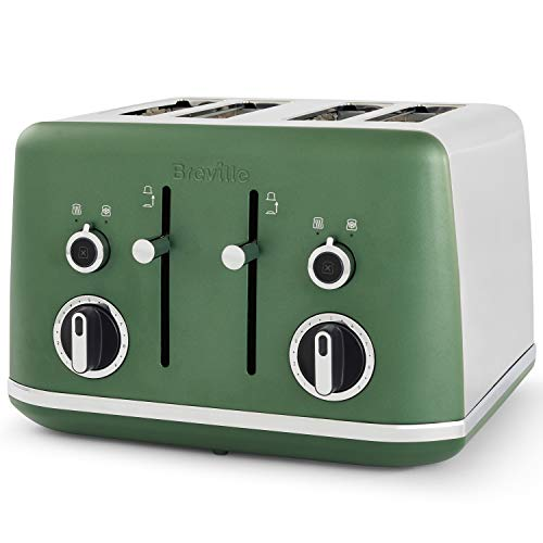 Breville Lustra 4-Slice Toaster with High Lift | Wide Slots & Independent 2-Slice Controls | Matt Forest Green [VTT992]