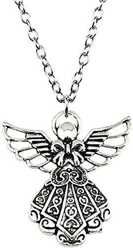 Yiffshunl Necklace Necklaces for Women Angel Pendant Necklace 42X39Mm Antique Silver Color Jewelry Necklace Gift