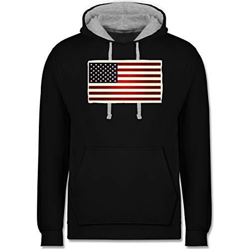 Shirtracer Kontinente - Flagge USA - XXL - Schwarz/Grau meliert - usa Pullover - JH003 - Hoodie zweifarbig und Kapuzenpullover für Herren und Damen